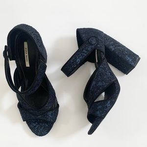 Zara Jacquard Textured Block Heel Sandal - 38 EU 7.5 US